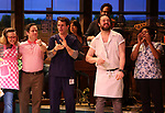"Lenne Klingaman, Christopher Fitzgerald, Benny Elledge and cast with Joey McIntyre during his debut bows in Broadway's  ""Waitress"" at The Brooks Atkinson Theatre on February 4, 2019 in New York City."