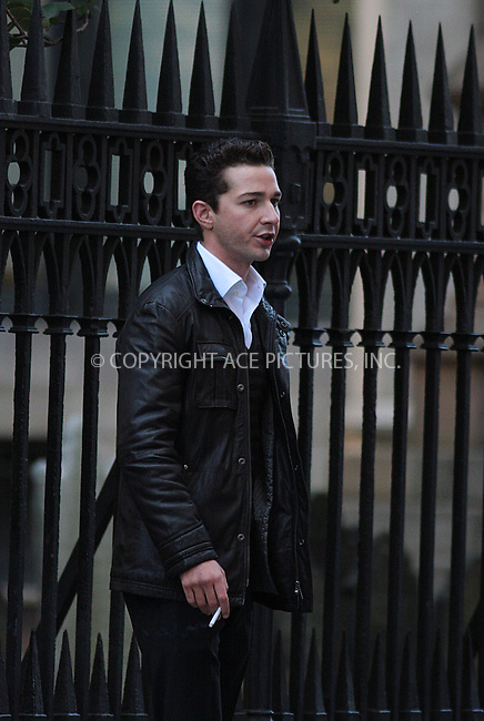 WWW.ACEPIXS.COM . . . . .  ....October 8 2009, New York City....Actor Shia Lebeouf on the Manhattan set of the new movie 'Wall Street 2' on October 8 2009 in New York City....Please byline: AJ Sokalner - ACEPIXS.COM..... *** ***..Ace Pictures, Inc:  ..tel: (212) 243 8787..e-mail: info@acepixs.com..web: http://www.acepixs.com