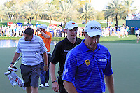 Lee Westwood (ENG), Stephen Gallacher (SCO) and Marcel Siem (GER) finish their match on the 18th hole during Sunday's Final Round of the 2012 Omega Dubai Desert Classic at Emirates Golf Club Majlis Course, Dubai, United Arab Emirates, 12th February 2012(Photo Eoin Clarke/www.golffile.ie)