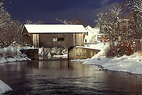 AJ1086, Vermont, covered bridge, Mad River Valley, Warren Covered Bridge, circa 1880, crosses over the Mad River in winter.