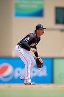 Jupiter Hammerheads shortstop Bryson Brigman (1) during a game against the Palm Beach Cardinals on August 5, 2018 at Roger Dean Chevrolet Stadium in Jupiter, Florida.  Jupiter defeated Palm Beach 3-0.  (Mike Janes/Four Seam Images)