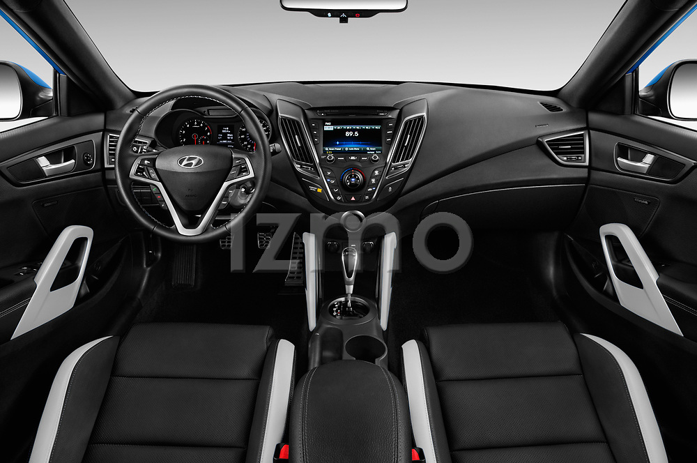 Stock photo of straight dashboard view of 2017 Hyundai Veloster Turbo-Manual 5 Door Hatchback Dashboard