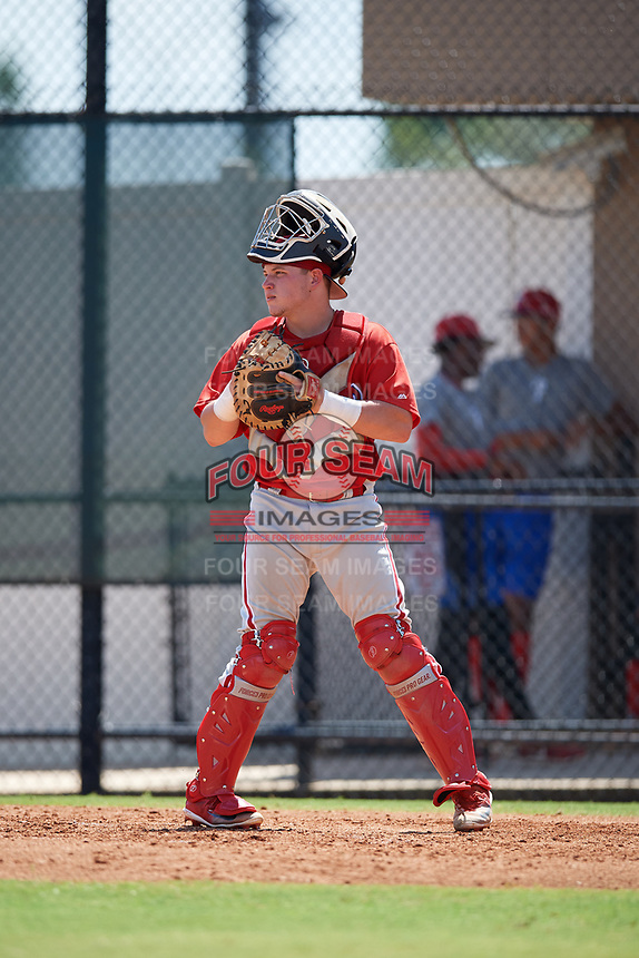Philadelphia Phillies catcher Mitchell Edwards (19) during a Florida Instructional League game against the Atlanta Braves on October 5, 2018 at the Carpenter Complex in Clearwater, Florida.  (Mike Janes/Four Seam Images)