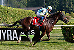 Glorious Empire (no. 1) wins the Sword Dancer Stakes (Grade 1), Aug. 25, 2018 at the Saratoga Race Course, Saratoga Springs, NY.  Ridden by  Julien Leparoux., and trained by James Lawrence, II, Glorious Empire finished 1 3/4 lengths in front of Channel Maker (no. 7).  (Bruce Dudek/Eclipse Sportswire)
