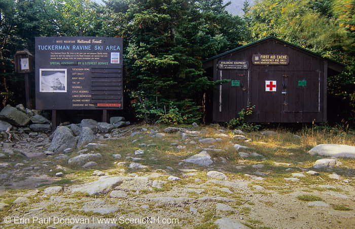 Tuckerman Ravine Ski area sign and First aid Cache building at the Ranger Station (known as Ho / Jos) just below the bowl of Tuckerman Ravine in Sargent's Purchase in the New Hampshire White Mountains.