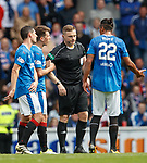 Ryan Jack protests his innocence to ref John Beaton after red card