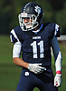 Max Napoli #11 of Northport reacts after making an interception in the second quarter of a Suffolk County Division I varsity football game against Patchogue-Medford at Half Hollow Hills East High School in Dix Hills on Sunday, Oct. 1, 2017. Northport won by a score of 35-19.