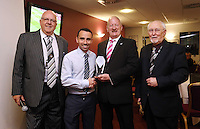 Sunday, 26 April 2014<br /> Pictured: Presentetion of award to Leon Britton (2nd L) at the St Helen's Lounge.<br /> Re: Barclay's Premier League, Swansea City FC v Aston Villa at the Liberty Stadium, south Wales.