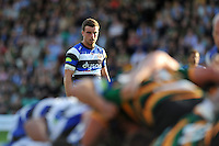 George Ford watches a scrum. Aviva Premiership match, between Northampton Saints and Bath Rugby on September 27, 2014 at Franklin's Gardens in Northampton, England. Photo by: Patrick Khachfe / Onside Images