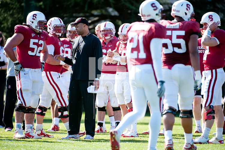 STANFORD, CA - FEBRUARY 27, 2011: Head Coach David Shaw, Spring practice on the football practice fields, February 27, 2011 in Stanford, California.