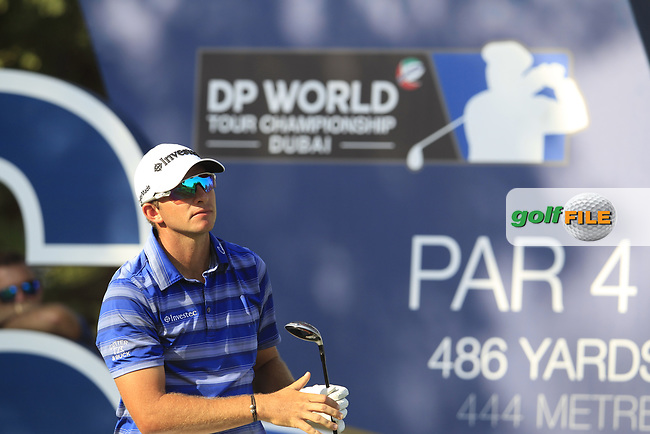 Dean Burmester (RSA) on the 16th tee during the final round of the DP World Tour Championship, Jumeirah Golf Estates, Dubai, United Arab Emirates. 18/11/2018<br /> Picture: Golffile | Fran Caffrey<br /> <br /> <br /> All photo usage must carry mandatory copyright credit (&copy; Golffile | Fran Caffrey)