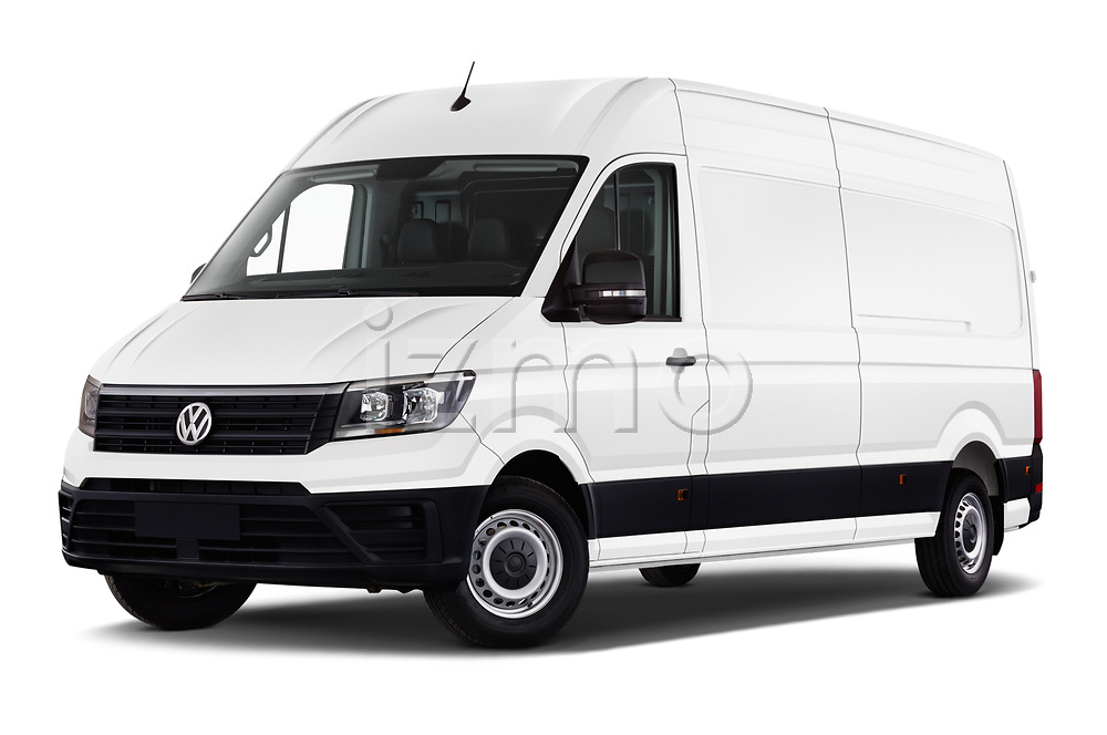 Stock pictures of low aggressive front three quarter view of a 2019 Volkswagen Crafter Base 4 Door Cargo Van