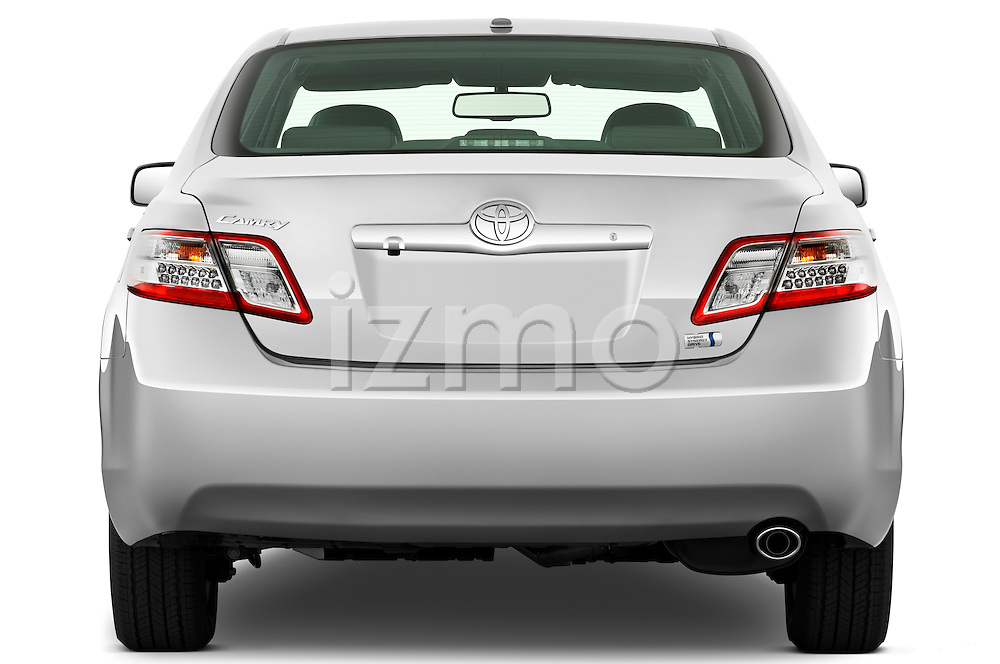 Straight rear view of a 2010 Toyota Camry Hybrid