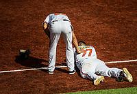 El corredor Luis Domoromo de Venezuela choca con el catcher Jonathan Morales que queda tendido en el home, terreno .  <br /> .<br /> Partido de beisbol de la Serie del Caribe con el encuentro entre Caribes de Anzo&aacute;tegui de Venezuela  contra los Criollos de Caguas de Puerto Rico en estadio Panamericano en Guadalajara, M&eacute;xico,  s&aacute;bado 5 feb 2018. <br /> (Foto: Luis Gutierrez)<br /> <br /> Baseball game of the Caribbean Series with the match between Caribes de Anzo&aacute;tegui of Venezuela against the Criollos de Caguas of Puerto Rico, at the Pan American Stadium in Guadalajara, Mexico, Saturday, February 5, 2018.<br /> (Photo: Luis Gutierrez)