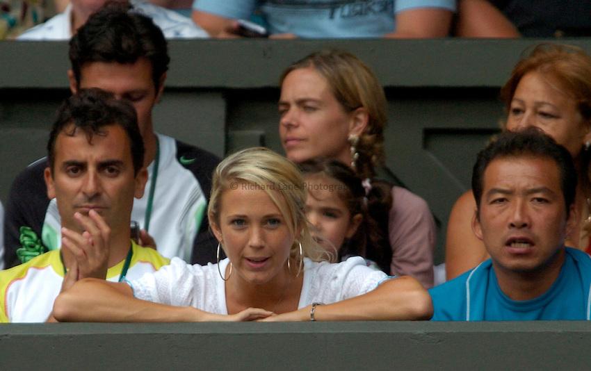 Photo: Richard Lane..Wimbledon Championships. 05/07/2006. .Rebecca Cartwright watches husband, Leyton Hewitt.