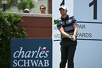 Daniel Berger (USA) watches his tee shot on 1 during round 1 of the 2019 Charles Schwab Challenge, Colonial Country Club, Ft. Worth, Texas,  USA. 5/23/2019.<br /> Picture: Golffile | Ken Murray<br /> <br /> All photo usage must carry mandatory copyright credit (© Golffile | Ken Murray)