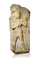 Relief of God of War. Limestone, Kings Gate, Hattusa ( Bogazkoy ). 14th - 13th Century BC. Anatolian Civilisations Museum, Ankara, Turkey.<br /> <br /> The warrior depicted in high relief is dressed in a decorated skirt. The relief takes place on the interior part of the King's gate facing city, to the east of the city walls. He carries a crescent-handled short sword in his belt. The relief is identified as god depiction since the horns on the headdress are the indication of a god.  <br /> <br /> Against a white background.
