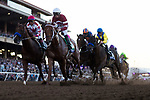 DEL MAR, CA - NOVEMBER 04: The field with Gun Runner #5, ridden by Florent Geroux, leading the pack of the Breeders' Cup Classic on Day 2 of the 2017 Breeders' Cup World Championships at Del Mar Thoroughbred Club on November 4, 2017 in Del Mar, California. (Photo by Alex Evers/Eclipse Sportswire/Breeders Cup)
