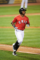 Erie SeaWolves left fielder Christin Stewart (17) runs to first during a game against the Richmond Flying Squirrels on August 22, 2016 at Jerry Uht Park in Erie, Pennsylvania.  Erie defeated Richmond 4-2.  (Mike Janes/Four Seam Images)