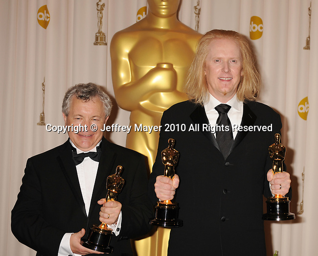 HOLLYWOOD, CA. - March 07: Sound Editor Ray Beckett and Paul N.J. Ottosson  pose in the press room at the 82nd Annual Academy Awards held at the Kodak Theatre on March 7, 2010 in Hollywood, California.