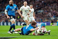 Jack Nowell of England scores his second try of the match. RBS Six Nations match between England and Italy on February 26, 2017 at Twickenham Stadium in London, England. Photo by: Patrick Khachfe / Onside Images