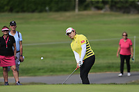 Ariya Jutanugarn (THA) chips onto the 8th green during Thursday's Round 1 of The Evian Championship 2018, held at the Evian Resort Golf Club, Evian-les-Bains, France. 13th September 2018.<br /> Picture: Eoin Clarke | Golffile<br /> <br /> <br /> All photos usage must carry mandatory copyright credit (&copy; Golffile | Eoin Clarke)