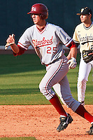 NNASHVILLE, TENNESSEE-Feb. 26, 2011:  Stephen Piscotty of Stanford leads off second base against Vanderbilt, during a game at Vanderbilt University in Nashville, Tennessee.  Vanderbilt defeated Stanford 8-7.