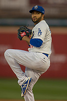 Rancho Cucamonga Quakes starting pitcher Jordan Sheffield (11) delivers a pitch to the plate against the Inland Empire 66ers at LoanMart Field on April 12, 2018 in Rancho Cucamonga, California. The 66ers defeated the Quakes 5-4.  (Donn Parris/Four Seam Images)