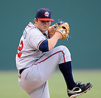 Starting LHP Chris Masters (32) of the Rome Braves in a game against the Greenville Drive on Aug. 9, 2010, at Fluor Field at the West End in Greenville, S.C. Photo by: Tom Priddy/Four Seam Images.