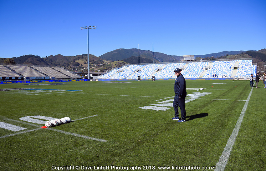 Argentina head coach Mario Ledesma walks out for the Rugby Championship Argentina Pumas captain's run at Trafalgar Park in Nelson, New Zealand on Friday, 7 September 2018. Photo: Dave Lintott / lintottphoto.co.nz