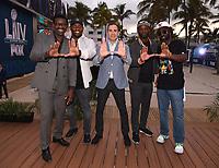 "MIAMI BEACH, FL - JANUARY 28:  (L-R) Michael Irvin, Ray Lewis, David Katz, Executive Vice President, Fox DigitalReggie Wayne, and Ed Reed discuss Fox Sports ""The ReUnion"" at the Fox Sports South Beach studio during Super Bowl LIV week on January 29, 2020 in Miami Beach, Florida. (Photo by Frank Micelotta/Fox Sports/PictureGroup)"