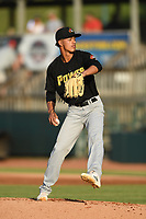 West Virginia Power starting pitcher Josias De Los Santos (28) in action during a game against the Hickory Crawdads at L.P. Frans Stadium on July 25, 2019 in Hickory, North Carolina. The Power defeated the Crawdads 3-2. (Tracy Proffitt/Four Seam Images)