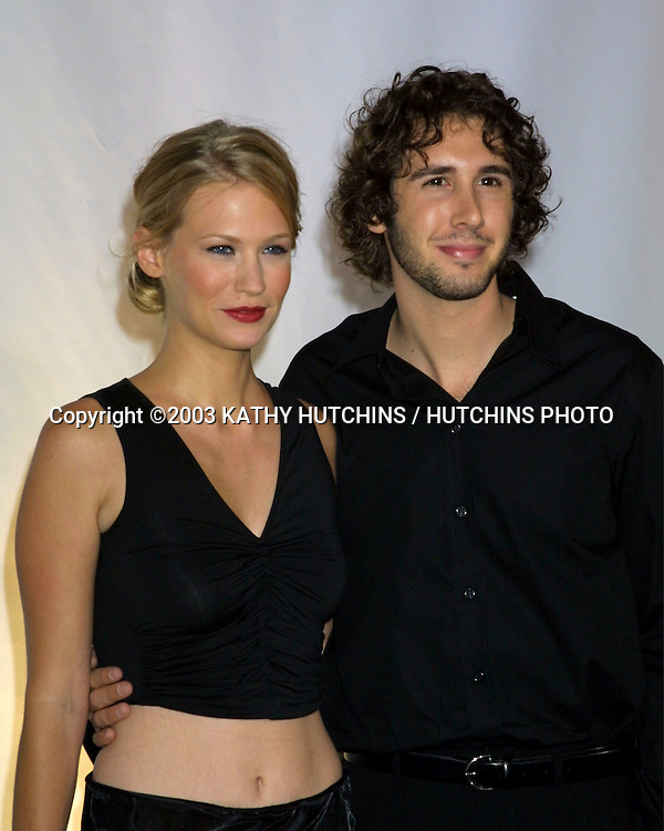 "©2003 KATHY HUTCHINS / HUTCHINS PHOTO.RODEO DRIVE ""WALK OF STYLE"" HONORING GIORGIO ARMANI.BEVERLY HILLS, CA.SEPTEMBER 9, 2003..JANUARY JONES.JOSH GROBAN"