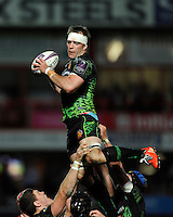 Kai Horstmann of Exeter Chiefs wins the lineout during the European Rugby Challenge Cup semi final match between Gloucester Rugby and Exeter Chiefs at Kingsholm Stadium on Saturday 18th April 2015 (Photo by Rob Munro)
