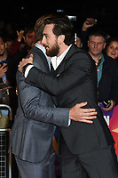"Chris Pine and Aaron Taylor Johnson<br /> arriving for the London Film Festival screening of ""Outlaw King"" at the Cineworld Leicester Square, London<br /> <br /> ©Ash Knotek  D3446  17/10/2018"