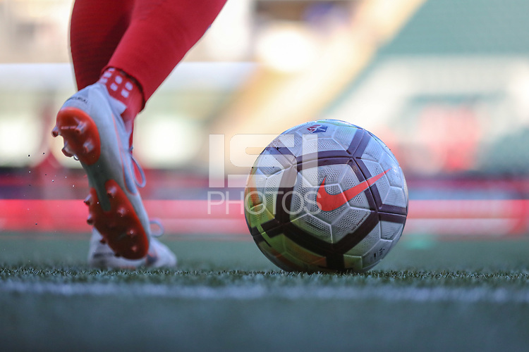 Portland, OR - Saturday August 18, 2018: Soccer Ball during a regular season National Women's Soccer League (NWSL) match between the Portland Thorns FC and the Chicago Red Stars at Providence Park.