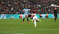 West Ham United's Javier Hernandez scores his side's third goal <br /> <br /> Photographer Rob Newell/CameraSport<br /> <br /> The Premier League - West Ham United v Huddersfield Town - Saturday 16th March 2019 - London Stadium - London<br /> <br /> World Copyright © 2019 CameraSport. All rights reserved. 43 Linden Ave. Countesthorpe. Leicester. England. LE8 5PG - Tel: +44 (0) 116 277 4147 - admin@camerasport.com - www.camerasport.com