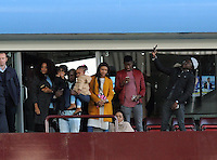 The Ayew family looking on at the end of the game as their boys Andre Ayew of Swansea City and Jordan Ayew of Aston Villa play during the Barclays Premier League match between Aston Villa v Swansea City played at the Villa Park Stadium, Birmingham on October 24th 2015