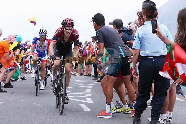 Geraint Thomas (WAL) Team Ineos and Thibaut Pinot (FRA) Groupama-FDJ summit the Col du Galibier during Stage 18 of the 2019 Tour de France running 208km from Embrun to Valloire, France. 25th July 2019.<br /> Picture: ProShots/George Deswijzen   Cyclefile<br /> All photos usage must carry mandatory copyright credit (© Cyclefile   ProShots/George Deswijzen)