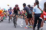 Geraint Thomas (WAL) Team Ineos and Thibaut Pinot (FRA) Groupama-FDJ summit the Col du Galibier during Stage 18 of the 2019 Tour de France running 208km from Embrun to Valloire, France. 25th July 2019.<br /> Picture: ProShots/George Deswijzen | Cyclefile<br /> All photos usage must carry mandatory copyright credit (© Cyclefile | ProShots/George Deswijzen)