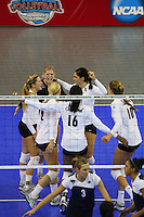 15 December 2007: Stanford Cardinal (not in order) Bryn Kehoe, Gabi Ailes, Erin Waller, Foluke Akinradewo, Cynthia Barboza, and Alix Klineman during Stanford's 25-30, 26-30, 30-23, 30-19, 8-15 loss against the Penn State Nittany Lions in the 2007 NCAA Division I Women's Volleyball Final Four championship match at ARCO Arena in Sacramento, CA.