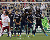 New York Red Bull free kick slips through the New England Revolution wall: Zak Boggs, Benny Feilhaber, Kenny Mansally, Kevin Alston, Shalrie JosephIn a Major League Soccer (MLS) match, the New England Revolution tied New York Red Bulls, 2-2, at Gillette Stadium on August 20, 2011.