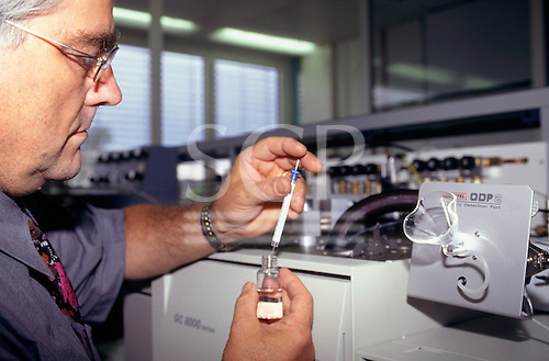 Dubendorf, Switzerland. William Grab, researcher in environmental flavours, in his laboratory, at Givaudan Roure.
