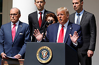 United States President Donald J. Trump delivers remarks before signing H.R. 7010 - PPP Flexibility Act of 2020 in the Rose Garden of the White House in Washington, DC on June 5, 2020.  Pictured at left is Director of the National Economic Council Larry Kudlow and at right is US Secretary of Labor Eugene Scalia.<br /> Credit: Yuri Gripas / Pool via CNP/AdMedia
