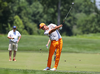 Potomac, MD - July 1, 2018:  Rickie Fowler hits his second shot from the fairway during final round at the Quicken Loans National Tournament at TPC Potomac  in Potomac, MD, July 1, 2018.  (Photo by Elliott Brown/Media Images International)