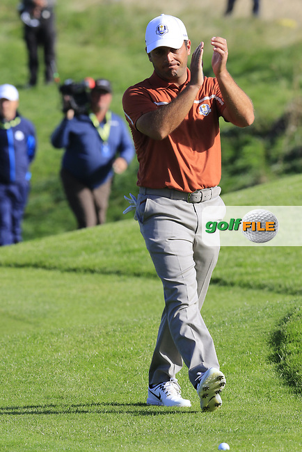 Francesco Molinari (Team Europe) walks onto the 9th green during Saturday's Foursomes Matches at the 2018 Ryder Cup 2018, Le Golf National, Ile-de-France, France. 29/09/2018.<br /> Picture Eoin Clarke / Golffile.ie<br /> <br /> All photo usage must carry mandatory copyright credit (© Golffile | Eoin Clarke)