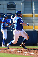 Indiana State Sycamores catcher Kaden Moore (12) at bat during a game against the Vanderbilt Commodores on February 21, 2015 at Charlotte Sports Park in Port Charlotte, Florida.  Indiana State defeated Vanderbilt 8-1.  (Mike Janes/Four Seam Images)