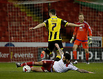 David Edgar of Sheffield Utd tackles Callum Reilly of Burton Albion - English League One - Sheffield Utd vs Burton Albion - Bramall Lane Stadium - Sheffield - England - 1st March 2016 - Pic Simon Bellis/Sportimage