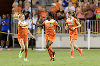 Houston, TX - Saturday June 17, 2017: Nichelle Prince celebrates her goal against Orlando with Denise O'Sullivan during a regular season National Women's Soccer League (NWSL) match between the Houston Dash and the Orlando Pride at BBVA Compass Stadium.