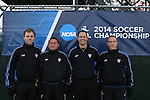14 November 2014: Match Officials (from left): Assistant Referee Jude Carr, Fourth Official Clifton H. Clement, Referee Dustin Thorne, and Assistant Referee Mark Buda. The University of North Carolina Tar Heels hosted the South Dakota State University Jackrabbits at Fetzer Field in Chapel Hill, NC in a 2014 NCAA Division I Women's Soccer Tournament First Round match. UNC won the game 2-0.
